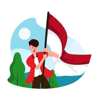 Illustrazione piana di festa dell'indipendenza dell'indonesia