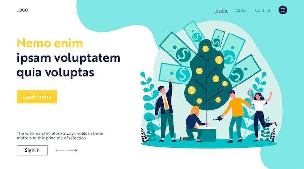Illustrazione piana di finanza d'investimento della gente allegra
