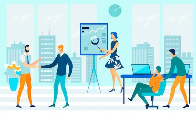Illustrazione piana di flusso di lavoro aperto di ufficio