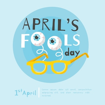 Illustrazione piana di giorno dei pesci d'aprile di progettazione