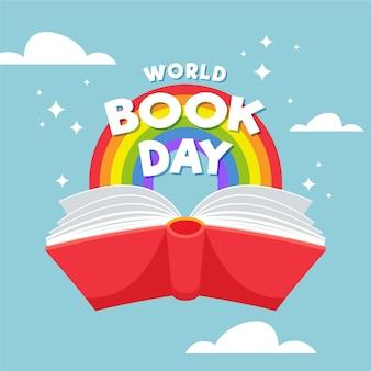 Illustrazione piana di giorno del libro di mondo