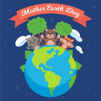 Illustrazione piana di giorno di madre terra con gli animali