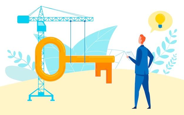 Illustrazione piana di idee della società della costruzione