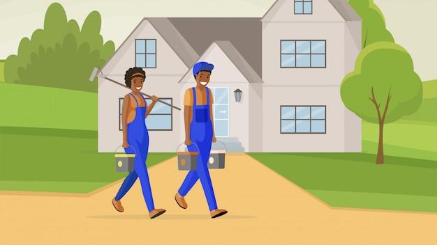 Illustrazione piana di imbianchini professionisti. riparatore maschio e femmina che trasporta secchi di vernice e personaggi dei cartoni animati a rulli. esperti di rinnovamento della facciata che offrono servizi di decorazione