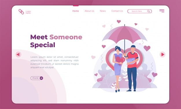 Illustrazione piana di incontrare qualcuno di speciale, coppia in amore sotto un ombrello