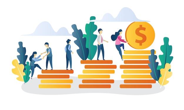 Illustrazione piana di investimento di concetto di affari