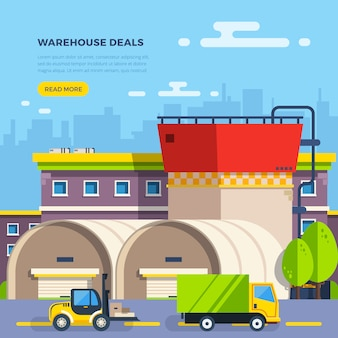 Illustrazione piana di magazzino