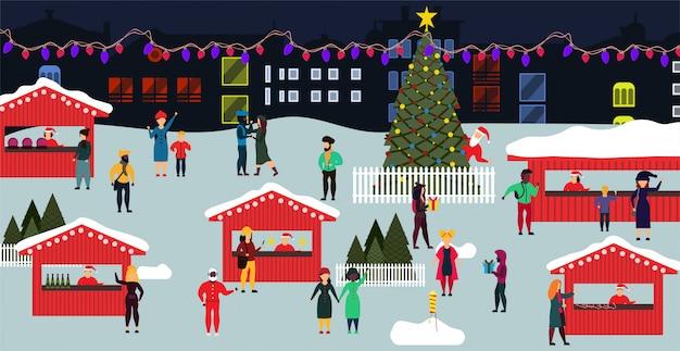 Illustrazione piana di natale di vacanza invernale della gente del mercato di natale.