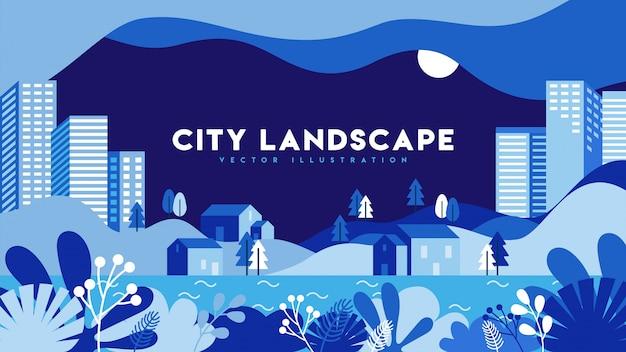 Illustrazione piana di paesaggio urbano moderno