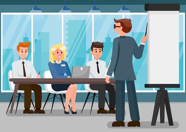 Illustrazione piana di presentazione di business trainer