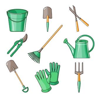 Illustrazione piana di progettazione degli strumenti di giardino