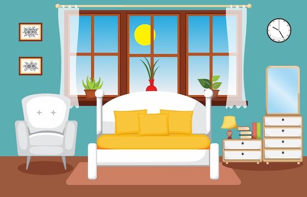 Illustrazione piana di progettazione della camera da letto interna della camera da letto