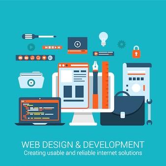 Illustrazione piana di progettazione di concetto di utilità pratica degli strumenti di processo creativi degli elementi dell'interfaccia di sviluppo di webdesign