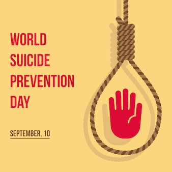 Illustrazione piana di progettazione di giorno mondiale di prevenzione di suicidio