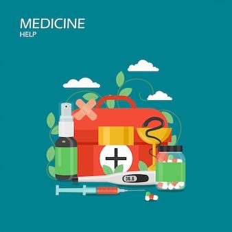 Illustrazione piana di progettazione di stile di aiuto della medicina