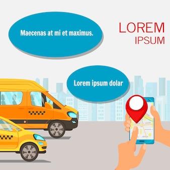 Illustrazione piana di pubblicità di servizio online dei taxi