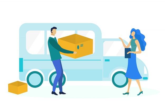 Illustrazione piana di servizio di consegna espressa
