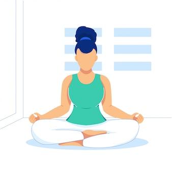 Illustrazione piana di sport di yoga su stanza