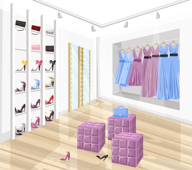Illustrazione piana di stile del boutique del negozio di scarpe e del vestito