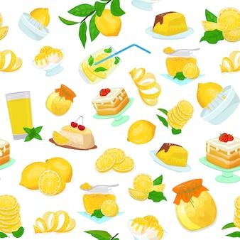 Illustrazione piana di stile del modello dei dessert dei dolci dell'alimento di frutti del limone. torte di agrumi giallo limone, marmellata, gelato, biscotti, fette e foglie, succo di frutta, limonata.