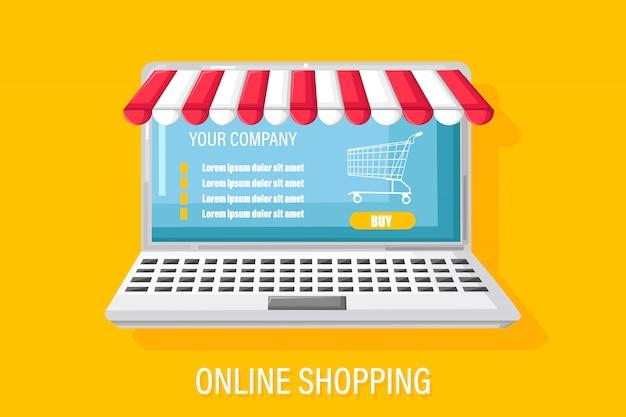 Illustrazione piana di stile del taccuino di acquisto online