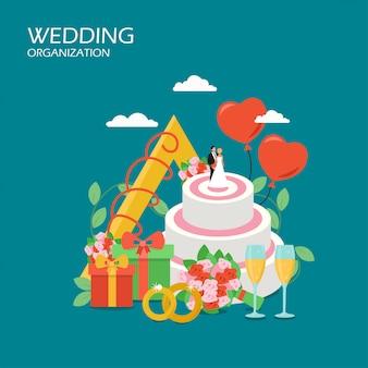 Illustrazione piana di stile di vettore di organizzazione di nozze