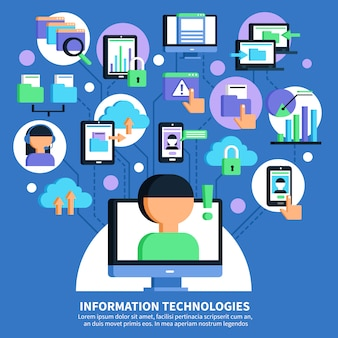 Illustrazione piana di tecnologie dell'informazione
