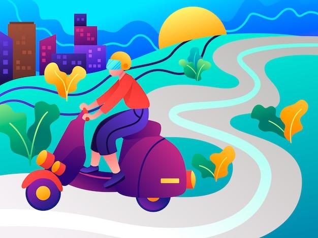 Illustrazione piana di trasporto online