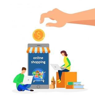 Illustrazione piana di vettore dei clienti del deposito online