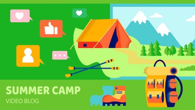 Illustrazione piana di vettore del blog del campeggio estivo video