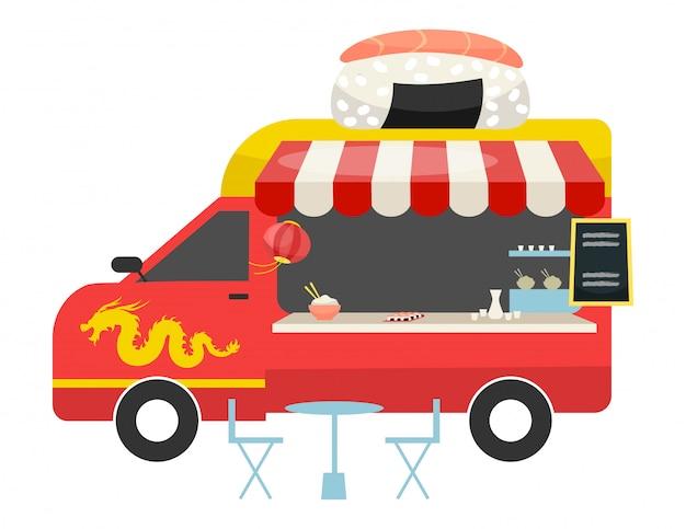 Illustrazione piana di vettore del camion dell'alimento di fusione asiatica