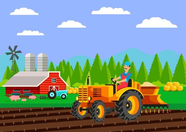 Illustrazione piana di vettore del campo di semina del trattore