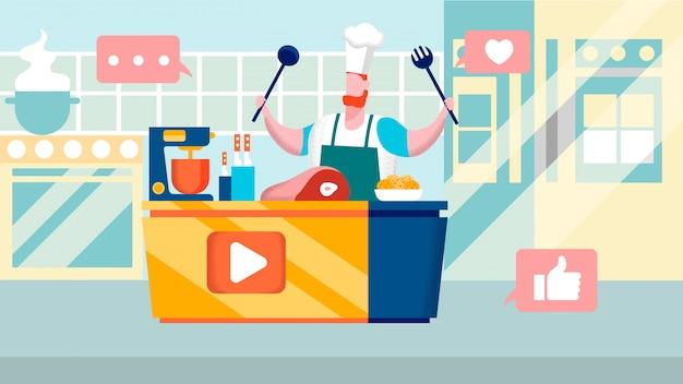 Illustrazione piana di vettore del canale culinario di internet