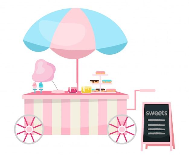 Illustrazione piana di vettore del carretto dell'alimento della via