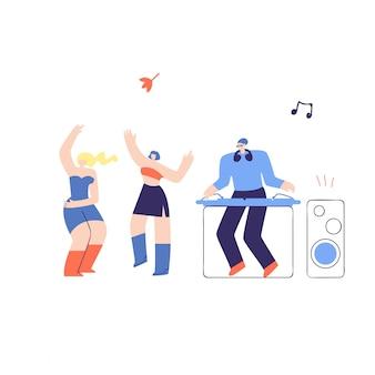 Illustrazione piana di vettore del dj fest della gente della discoteca