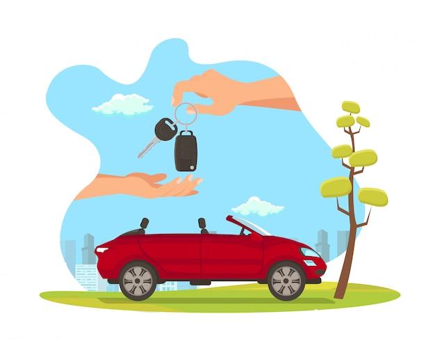Illustrazione piana di vettore del fumetto di vendita rossa dell'automobile