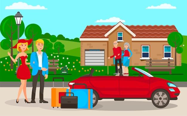 Illustrazione piana di vettore del fumetto di visita della famiglia