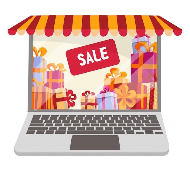 Illustrazione piana di vettore del fumetto per acquisto online e le vendite isolate. computer portatile decorato come vetrina con tettoia a strisce, tenda da sole, tenda.