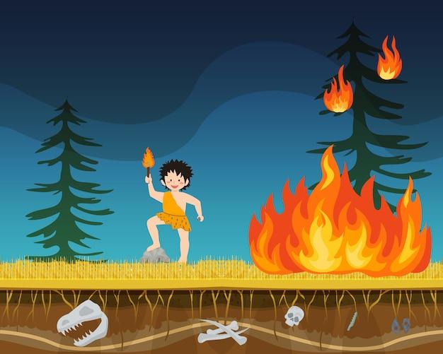Illustrazione piana di vettore del fuoco primitivo dell'estratto preistorico del carattere maschio. uomo antico persona con torcia avviare incendi boschivi.