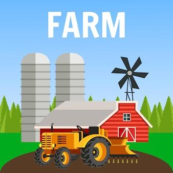 Illustrazione piana di vettore del paesaggio dell'azienda agricola con testo