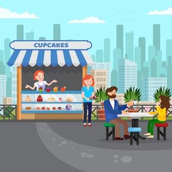Illustrazione piana di vettore del piccolo negozio saporito di cupcakes