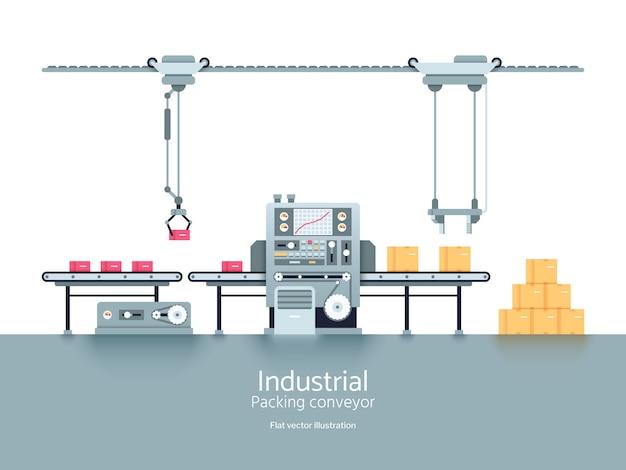 Illustrazione piana di vettore del trasportatore della fabbrica di produzione industriale