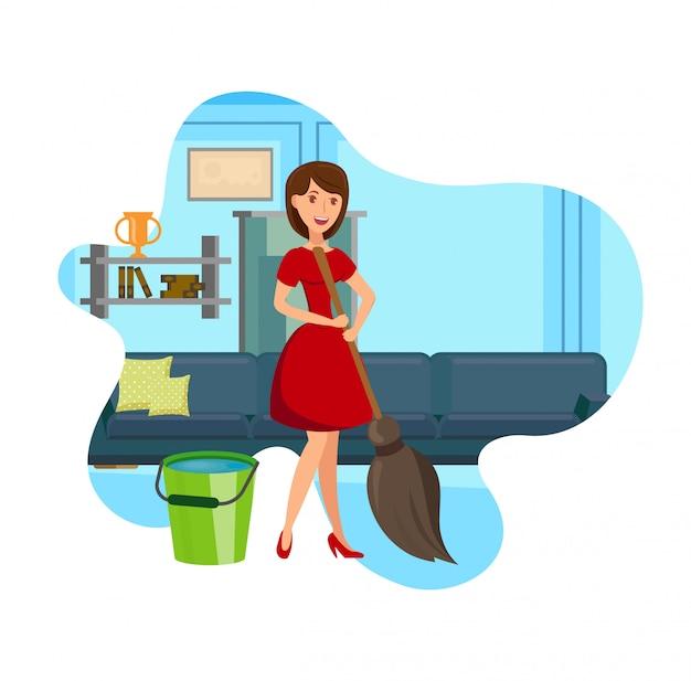 Illustrazione piana di vettore dell'appartamento di pulizia della donna