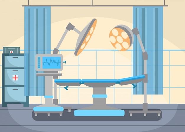 Illustrazione piana di vettore dell'attrezzatura della stanza della chirurgia