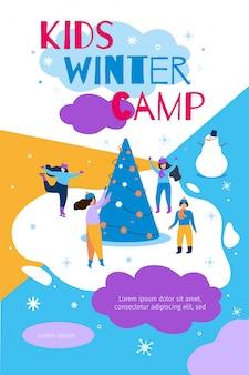 Illustrazione piana di vettore dell'insegna del campeggio invernale dei bambini
