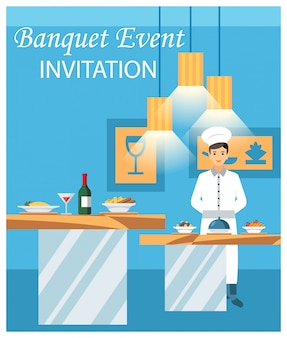 Illustrazione piana di vettore dell'invito di evento di banchetto