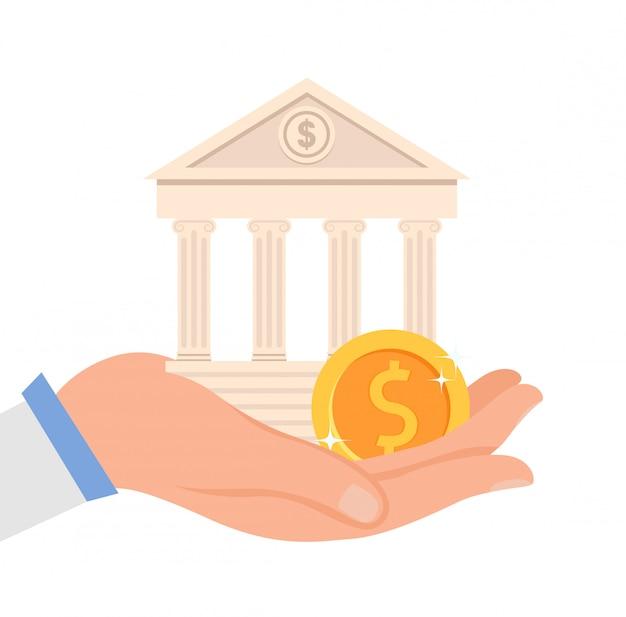 Illustrazione piana di vettore dell'istituzione finanziaria