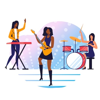 Illustrazione piana di vettore della banda rock strumentale