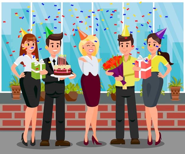 Illustrazione piana di vettore della festa di compleanno di sorpresa