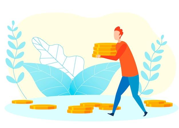 Illustrazione piana di vettore della metafora finanziaria di ricchezza